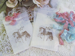 Carousel Horse Small Favor Bags w/ribbons - Glassine Candy Bags - Set of 10 - Choose Ribbons & Ink - Birthday Baby Shower Circus Party Favor