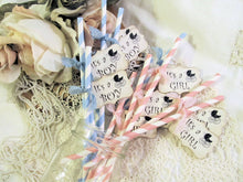 Baby Shower Straws Vintage Carriage Stroller Party w/Flags Favor - It's a Girl or Boy - Choose Straw & Ribbon Color - Set of 18 - Reveal