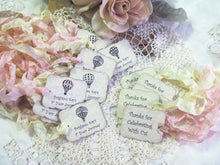 Hot Air Balloon Tags Parchment Favor Tags - Customized - Set of 15 - Choose Ribbons - Birthday Baby Bridal Shower Rustic Wedding Steampunk