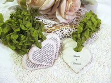 Love is Patient Tags Parchment Scallop Heart Wedding Favor Gift Tags - Choose Ribbons - Set of 9 - Vintage Rustic Shabby Shower Corinthians