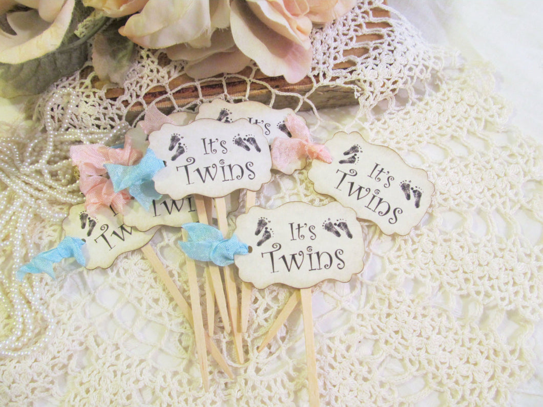 Its Twins Cupcake Toppers Baby Shower Cupcake Toppers  or Favor Tags w/ribbons - gender reveal shower party - baby footprints feet