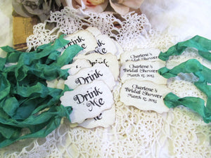 Drink Me Favor Tags with ribbons -  Set of 18