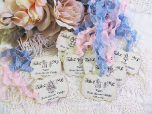 Alice Tags Take Me Large Parchment Wedding Favor Tags with Ribbons - Set of 18 - Choice of Ribbons - Customized Personalized