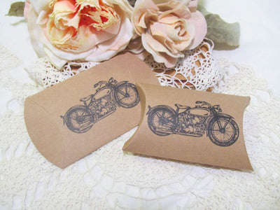 Vintage Motorcycle Favor Candy Boxes or Small Glassine Bags - Set of 20