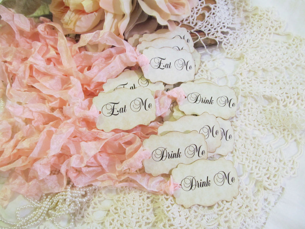 Drink Me or Eat Me or Take Me Tags Alice Party Favor- Script Font -Set of 18-Choose Ribbon Color- Baby Bridal Shower Tea Party Wedding Favor