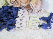 French Favor Tags with ribbons - Merci Crown Fleur Eiffel Thank You Parchment Gift Shower -Set of 18- Choose Ribbons - sprinkle paris party