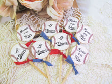 Vintage Baseball Cupcake Toppers - Set of 12 or 18 - Choose Ribbons - Baby Shower Birthday Baseball Sprinkle