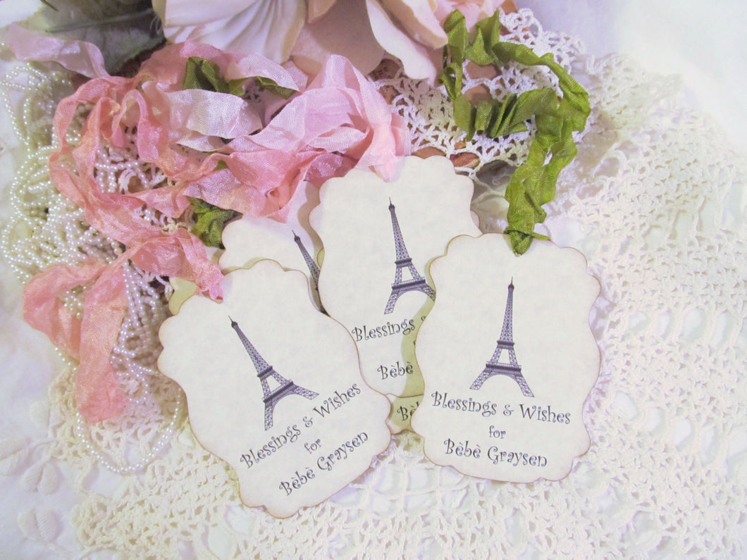 French Eiffel Tags Large Gift Hang Favor w/ribbons - Personalized Customized-Set of 9- Lingerie Party Bridal Shower Baby Shower Bachelorette