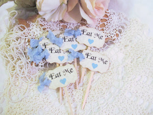 Alice Eat Me Cupcake Toppers Picks in Baby Pink or Baby Blue Hearts & ribbons - Set of 18-