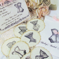 Bride Advice Game Vintage Corset Deluxe Cards Set w/Customized Bag and Sign