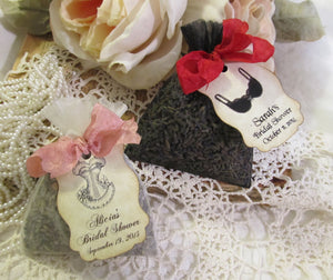 Lingerie Shower Favor Small Organza Mini Lavender Sachet with Tags- Set of 10 - Choose Style & Ribbons- Bridal Bachelorette Lingerie Shower