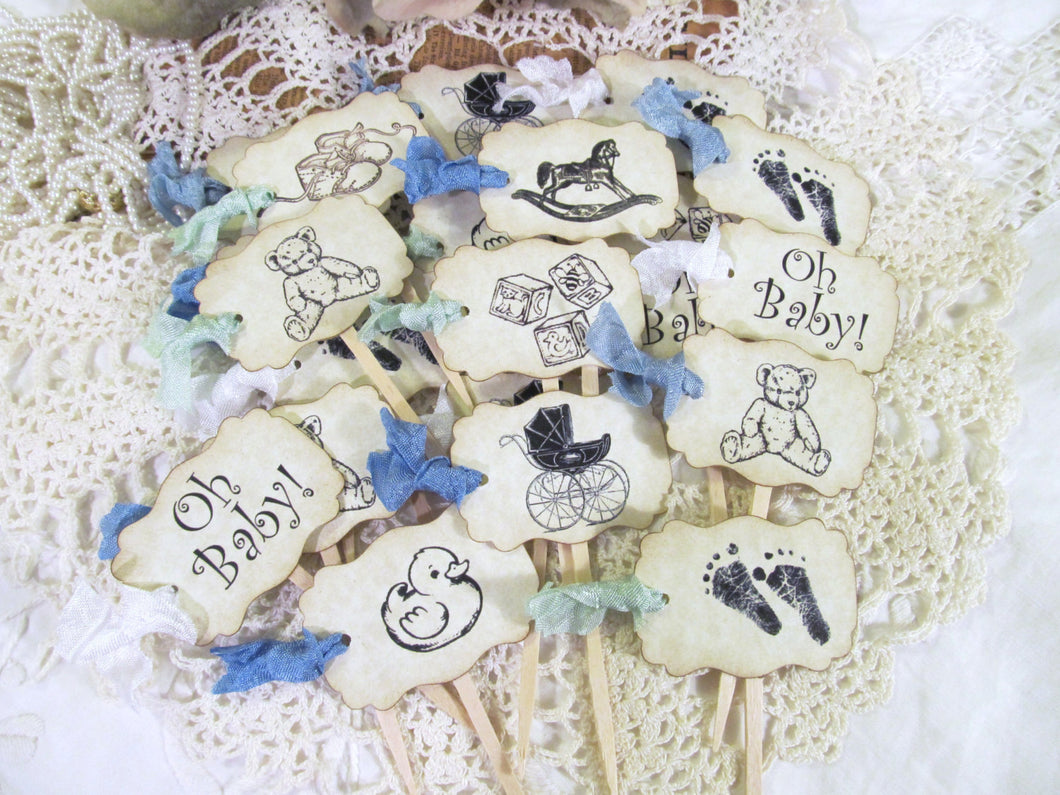 Baby Shower Cupcake Toppers Gender Neutral - Set of 18 - Gender Reveal - its a boy girl twins cupcake flags picks - rustic baby shower