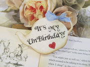 Alice Teapot Unbirthday Birthday Corsage Pin with Ribbon Bow & Sparkle Heart