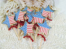 Americana Star Parchment Stars Cupcake Toppers Party Picks with Red Tinsel Ribbons - Set of 12 - July 4th Independence Flag