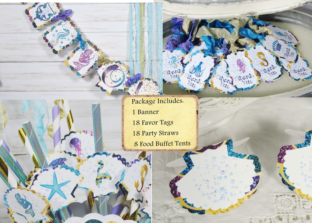 Mermaid Birthday Party Decorations - Custom Name Banner Garland