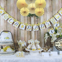 Lemon Yellow Floral Baby Shower Decorations
