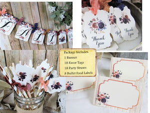 Plum Coral Rust Watercolor Floral Fall Rustic Wedding Bridal Shower Decorations