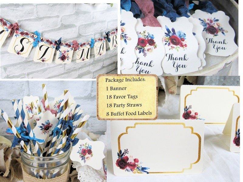 Burgundy Blue Turquoise Wedding Shower Decorations Bride to Be Just Married