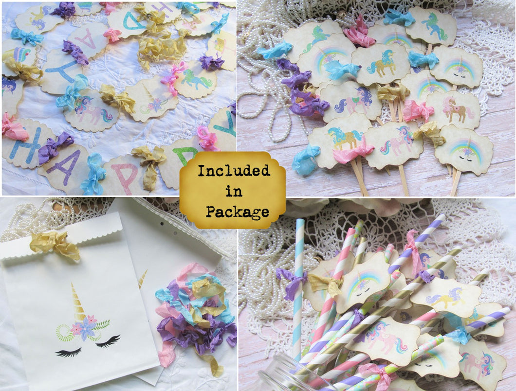 Unicorn Party Decorations - Banner - Cupcake Toppers - Favor Tags - Favor Bags - Centerpiece Picks - Straws - Rainbow Sweet Shop Birthday