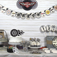 Muscle Vintage Race Car Hot Rod Mechanic Birthday Decorations - Name Banner