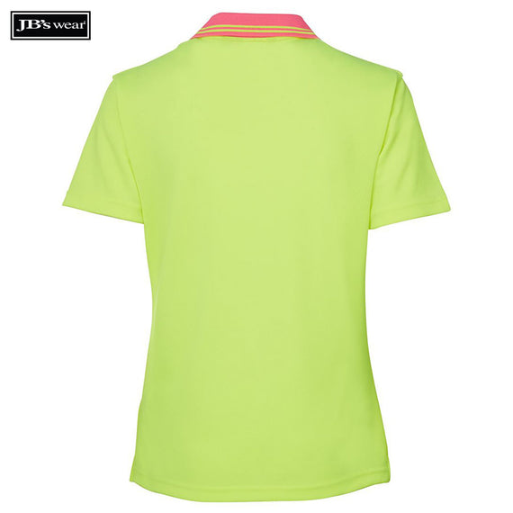 JB's Wear 6HNB1 Hi Vis Ladies S/S Non Button Polo