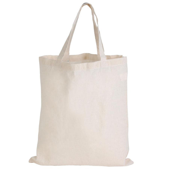 Logo-Line LL500 Calico Double Short Handle Tote Bag - 140 GSM