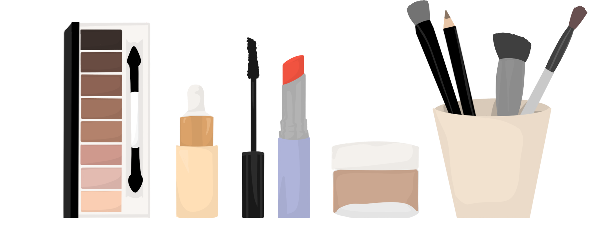 illustration of makeup items