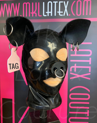 The Piggy Latex Hood with Tag and Piercings