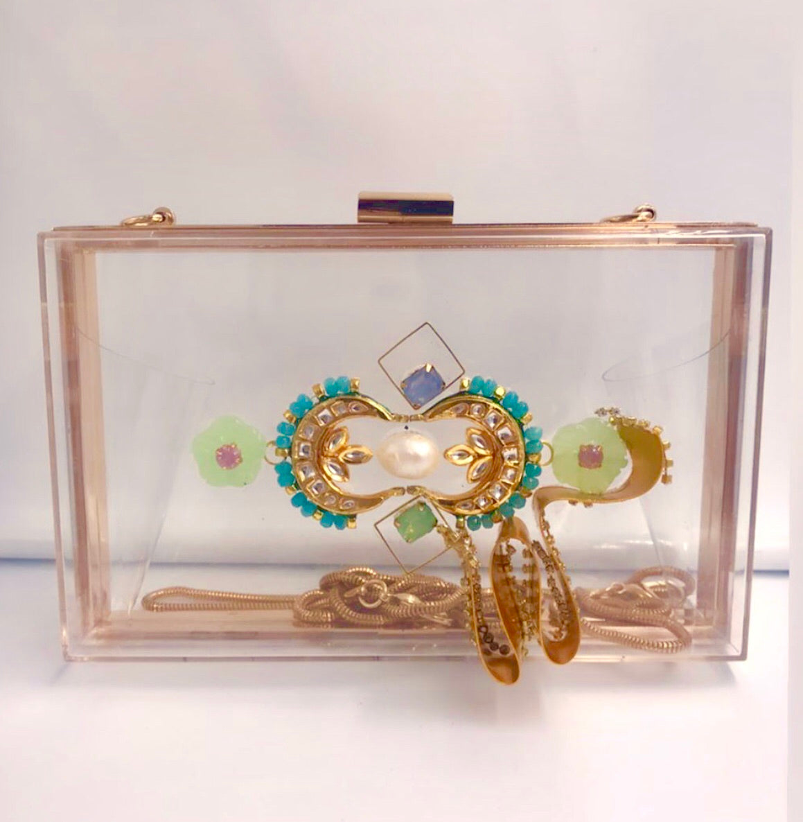 Clear embellished box clutch