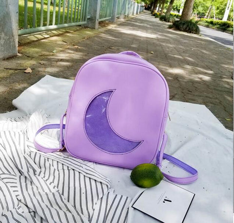 Lavender Ita Backpack Bag with Moon Shape Window