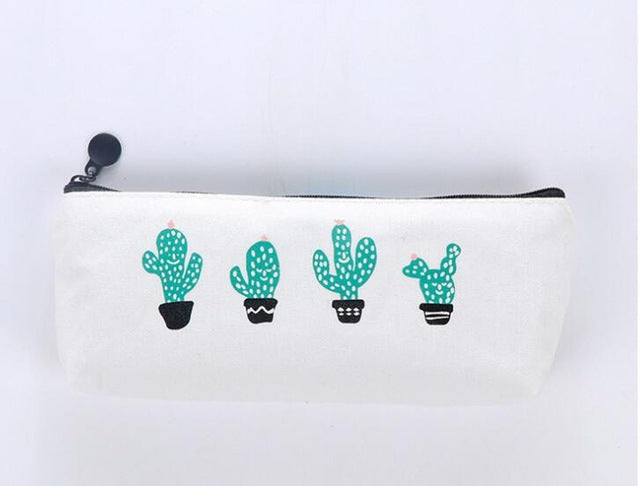 Cactus Canvas Large Capacity Pencil Pouch