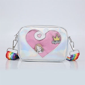 Holographic ITA Bag with Rainbow Strap and Heart Window