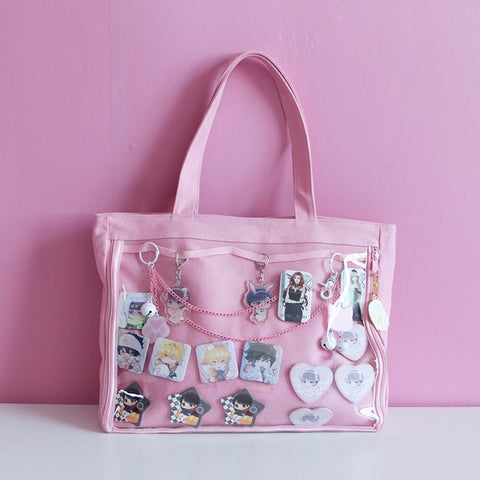 Pink Japanese Ita Lolita Canvas Handbag
