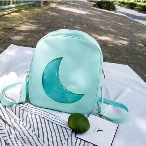 Mint Green Ita Backpack Bag with Moon Shape Window
