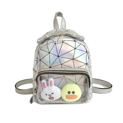 Silver Geometric Print Mini Backpack Ita Bag with Clear Pocket