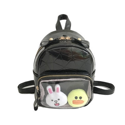 Black Geometric Print Mini Backpack Ita Bag with Clear Pocket