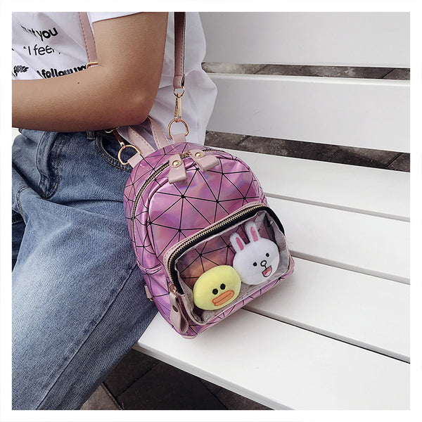 Pink Geometric Print Mini Backpack Ita Bag with Clear Pocket