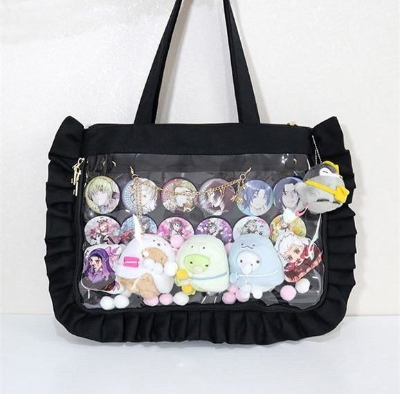 Black Lolita Ruffles Ita Canvas Handbag