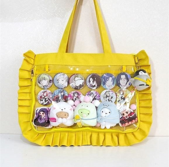 Yellow Lolita Ruffles Ita Canvas Handbag