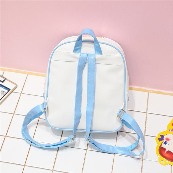 White with Green Bow Ita Backpack Bag