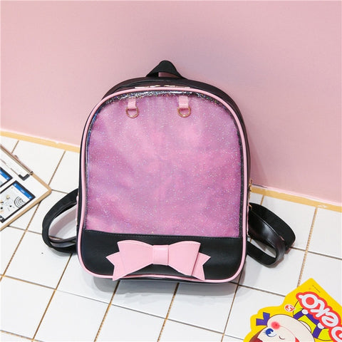 Black with Pink Bow Ita Backpack Bag
