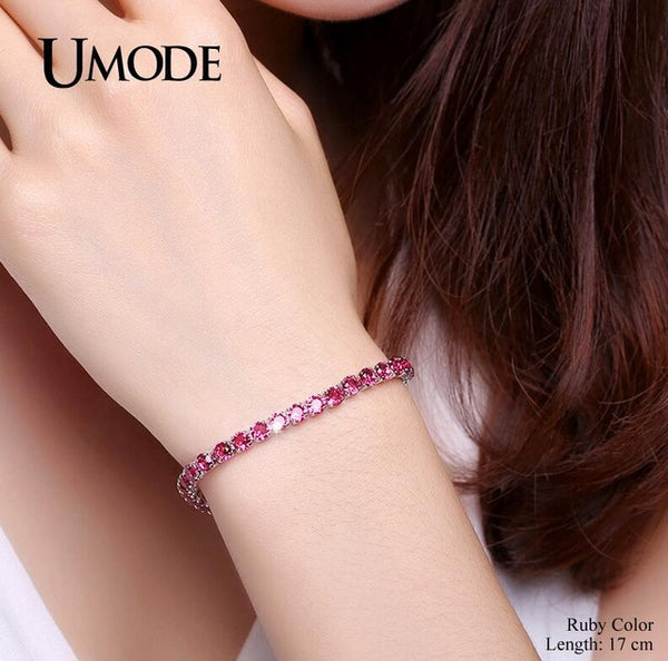 UMODE 5 Colors Cubic Zirconia Tennis Bracelet & Bangles For Women