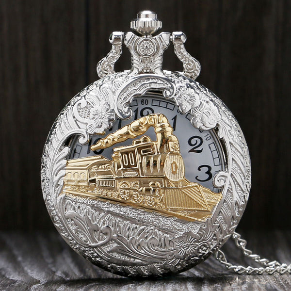 Vintage Silver Charming Gold Train Carved Steampunk Quartz Pocket Watch