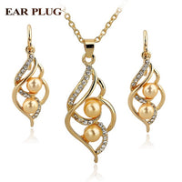 Simulated Pearl Wedding Jewelry for Women Crystal Gold Color Earrings Necklaces Set