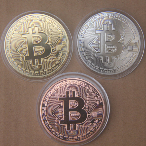 3Pcs/Set Bitcoin BTC Medal Gold/ Sliver/ Copper Plated Steel Souvenir Coins