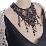 Women Lace Beads Choker Steampunk Gothic Collar Necklace