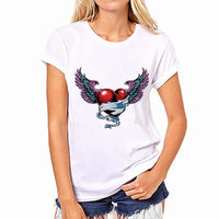 Newest Women White Game Hero Print Short Sleeve Shirt