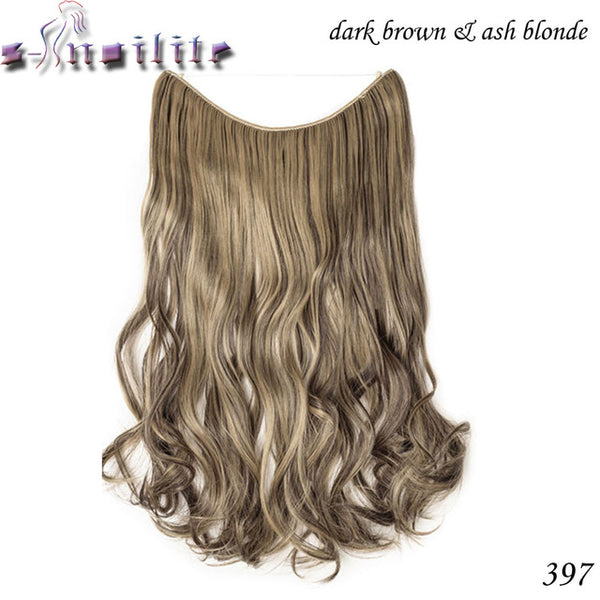 Silky Straight Natural Synthetic 20inch Invisible No Clips Hair