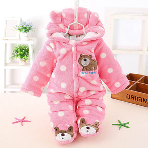 """Bear"" Feet Padded Covered Bottom Pink w/ White Polka Dots"