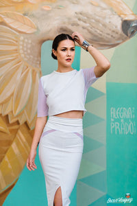 White Mesh Curve Pencil Skirt
